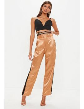 Camel Contrast Side Stripe Pants by Missguided