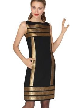 Black Simca Gold Lamé Trim Crepe Short Casual Dress by Tory Burch