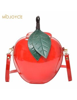2018 Famous Brand Red Circular Apple Shape Bag Women Crossbody Bags Fashion Female Messenger Bag Leaves Bags For Teenager Girls  by Mojoyce