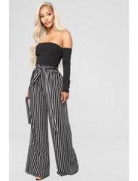 Daytona Babe Off Shoulder Jumpsuit   Black/White by Fashion Nova