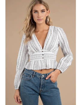 Lost + Wander Gypset White Multi Stripe Top by Tobi