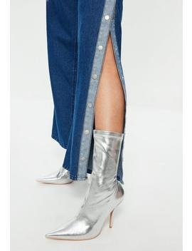 Blue Popper Side Wide Leg Denim Jeans by Missguided