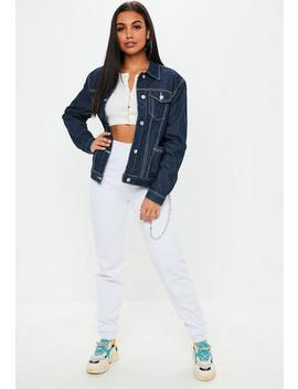 Blue Contrast Stitch Regular Denim Jacket by Missguided