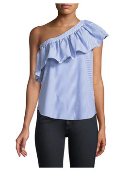 Cruz Striped One Shoulder Ruffle Top by Veronica Beard