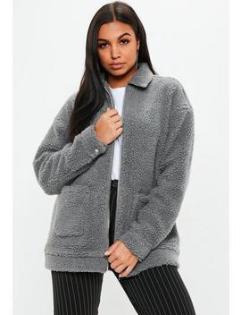 Grey Oversized Borg Zip Through Jacket by Missguided
