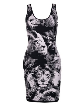 Black White And Lion Printed Fitted  Short Casual Dress by Roberto Cavalli