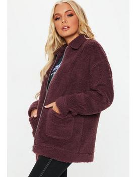 Burgundy Oversized Borg Zip Through Jacket by Missguided