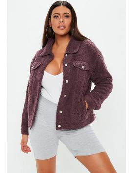 Curve Wine Borg Trucker Jacket by Missguided