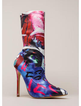 Abstract Idea Pointy Sock Booties by Go Jane