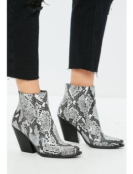 Gray Snake Print Curved Heel Western Chelsea Ankle Boots by Missguided