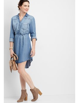 Button Down V Neck Shirtdress by Maurices