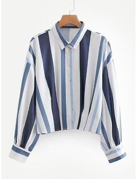 Drop Shoulder Striped Shirt by Sheinside