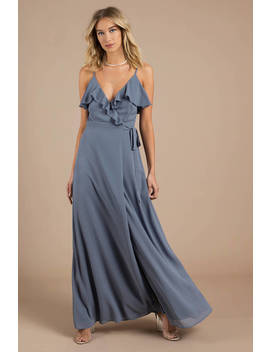 Kristen Slate Wrap Maxi Dress by Tobi