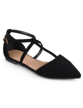 Brinley Co. Women's Pointed Toe Ankle Wrap T Strap D'orsay Flats by Brinley Co.