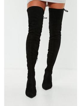 Black Kitten Heel Boots by Missguided