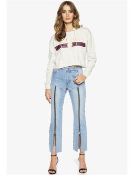 Midrise Zip Leg Jean by Bardot