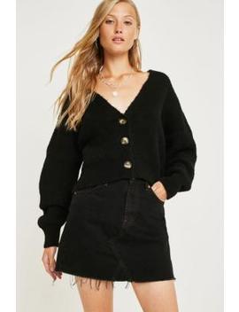 Bdg Austin Overdyed Black Notched Denim Mini Skirt by Bdg