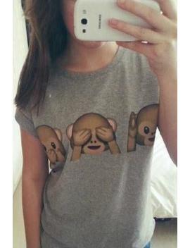 Emoji Monkey Casual T Shirt by Lupsona