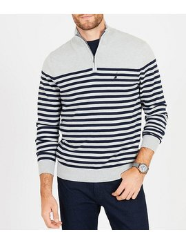 Big & Tall Striped Quarter Zip Mock Neck Pullover by Generic