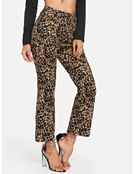 Slant Pocket Leopard Flare Leg Pants by Shein