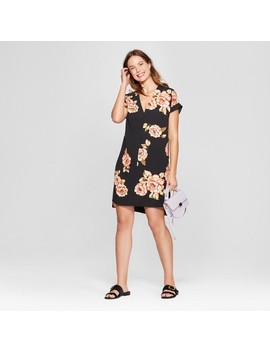 Women's Floral Print Short Sleeve Crepe Dress   A New Day™ Black by Shop All A New Day™