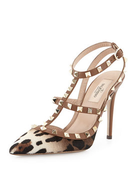 Rockstud Calf Hair Slingback Sandal, Leopard by Valentino