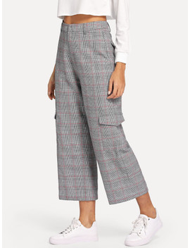 Flap Pocket Detail Plaid Culotte Pants by Shein
