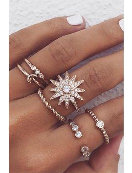 Chic Star Moon Rhinestone Ring Set by Lupsona