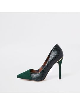 Green Wide Fit Fold Front Pumps by River Island
