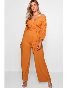 plus-off-the-shoulder-wrap-jumpsuit by boohoo