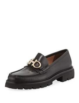 Men's Bleecker Leather Lug Sole Loafers With Reversible Bit by Salvatore Ferragamo