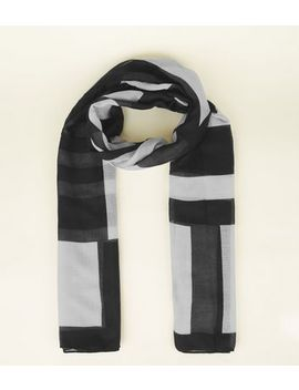 Black Stripe Longline Beach Scarf by New Look
