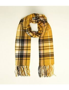 Yellow Check Longline Scarf by New Look