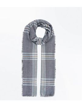Grey Prince Of Wales Check Scarf by New Look