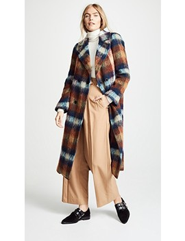 Shaggy Check Long Coat by Toga Pulla