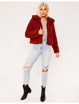 Cropped Teddy Coat by Glassons