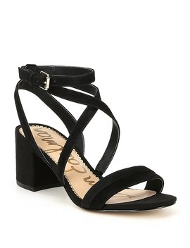 Sammy Suede Ankle Strap Block Heel Dress Sandals by Generic