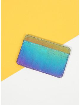 Iridescent Pu Card Wallet by Sheinside