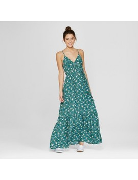 Women's Floral Print Ruffle Hem Maxi Dress   Le Kate (Juniors') Dark Green by Shop All Le Kate