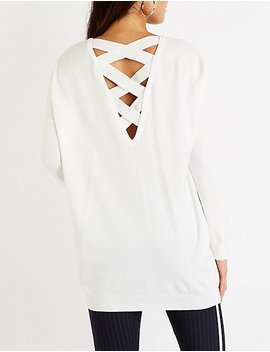 Crisscross Back V Neck Tunic by Charlotte Russe