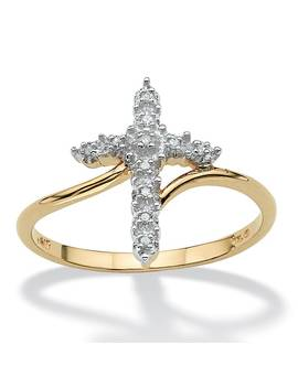 Round 10k Gold Diamond Accent Cross Ring by Palm Beach Jewelry