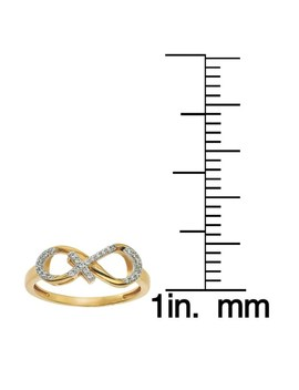 10k Yellow Gold 1/10ct Tdw Diamond Infinity Cross Ring By Ever One by Ever One