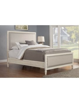 Cambridge Solid Wood King Bed With Upholstered Trim In White by Lu Xeo