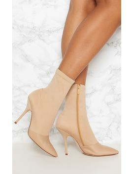 Beige Neoprene Heeled Sock Boot by Prettylittlething