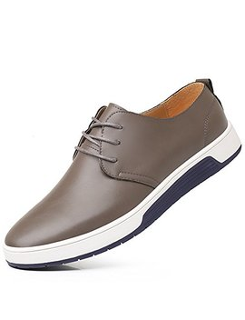 Konhill Men's Casual Oxford Shoes Breathable Flat Fashion Lace Up Dress Shoes by Konhill