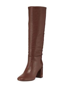 Brooke Slouchy Leather Block Heel Knee Boots by Tory Burch