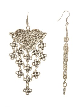Antique Silver Plated Engraved Dangle Earrings by Tmrw Studio