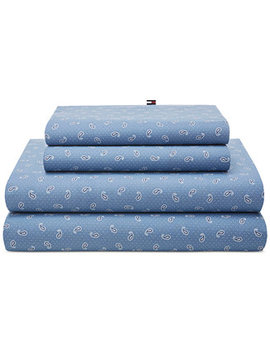 Closeout! Tossed Paisley Blue Queen Sheet Set by Tommy Hilfiger
