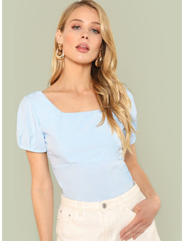 Square Neck Solid Crop Top by Shein