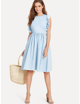 Ruffle Embellished Fit & Flare Denim Dress by Shein